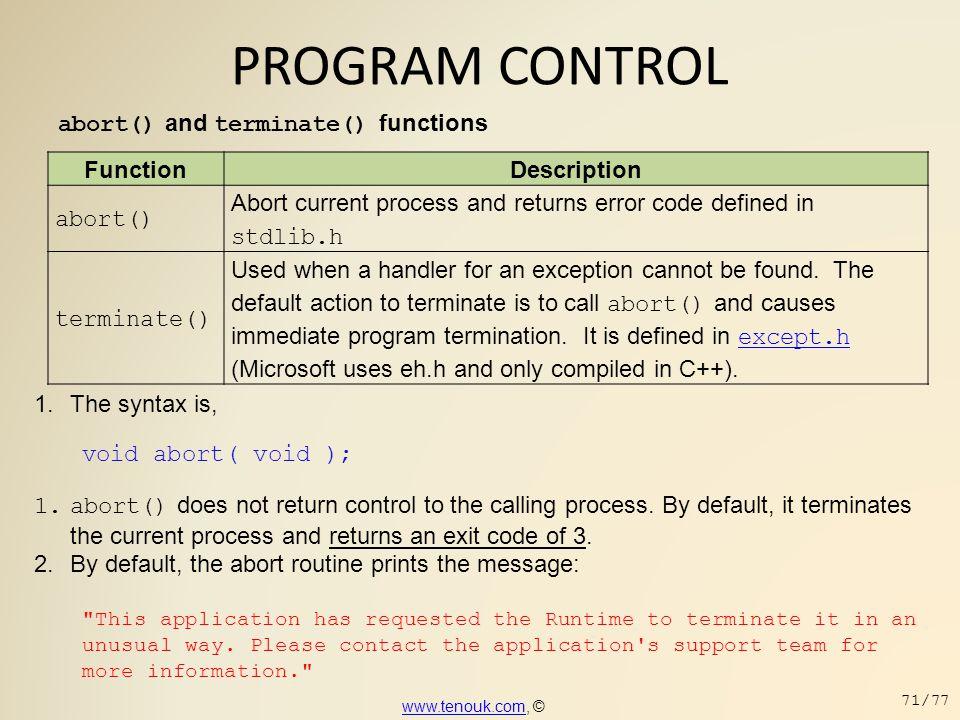 PROGRAM CONTROL abort() and terminate() functions Function Description