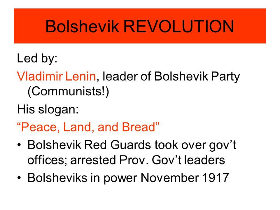 Bolshevik REVOLUTION Led by: