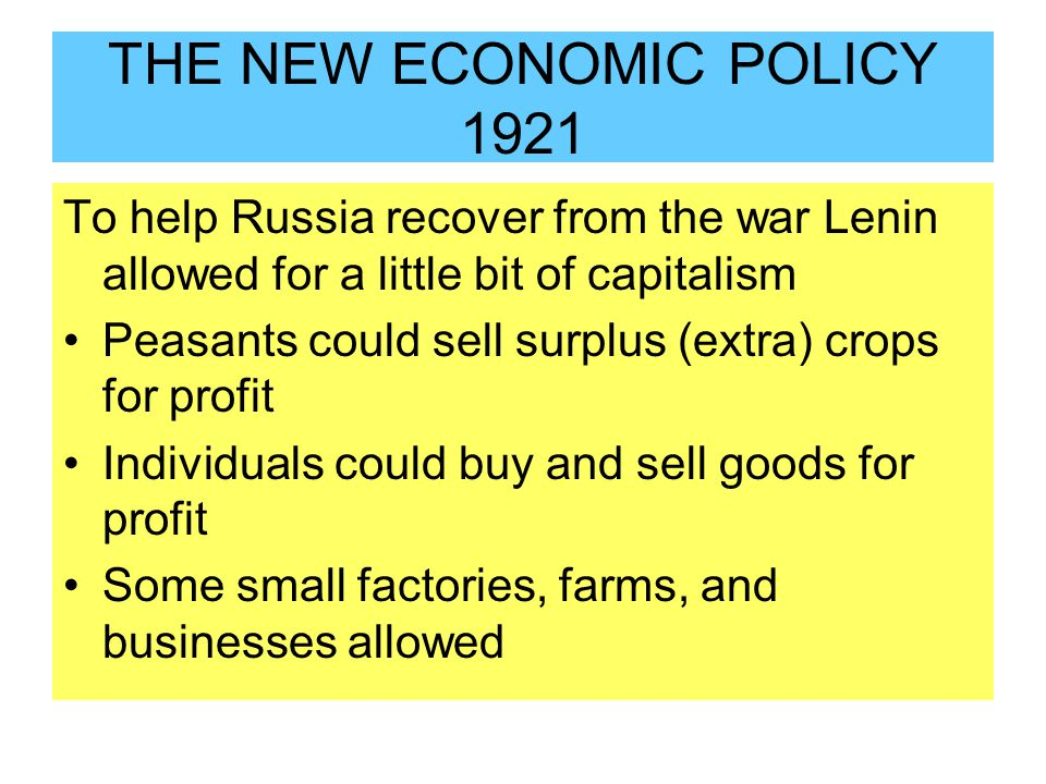 THE NEW ECONOMIC POLICY 1921
