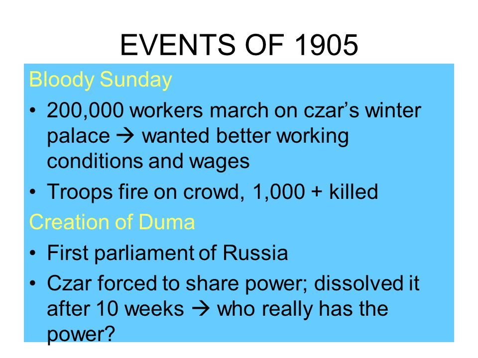 EVENTS OF 1905 Bloody Sunday