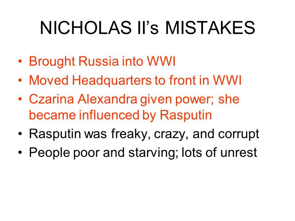 NICHOLAS II's MISTAKES
