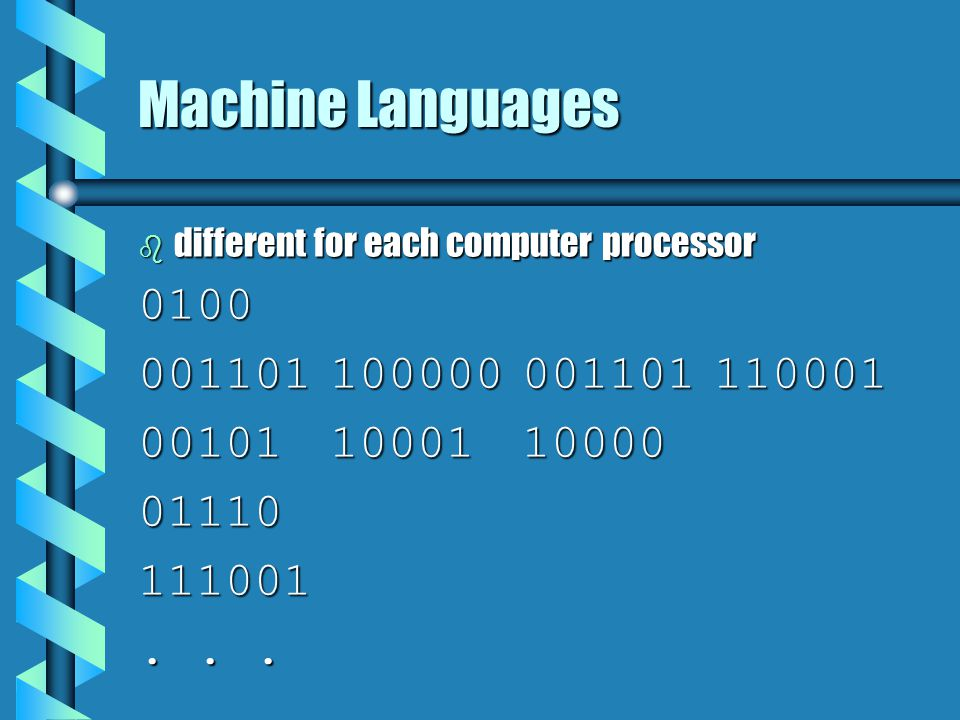 Machine Languages different for each computer processor. 0100. 001101 100000 001101 110001. 00101 10001 10000.