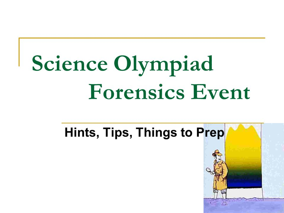 Science Olympiad Forensics Event