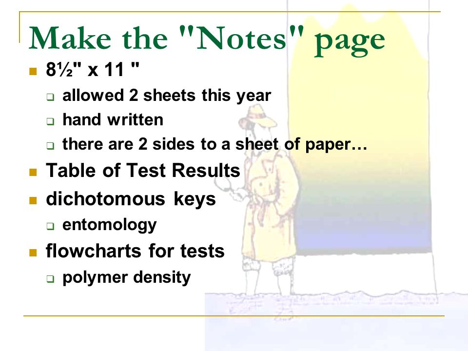 Make the Notes page 8½ x 11 Table of Test Results