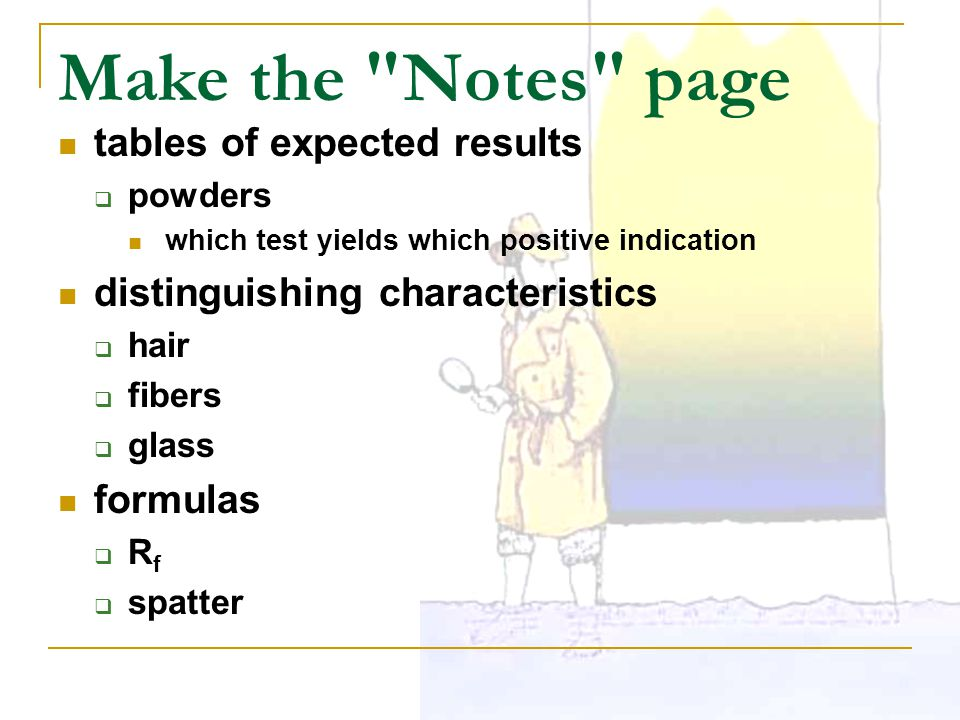 Make the Notes page tables of expected results