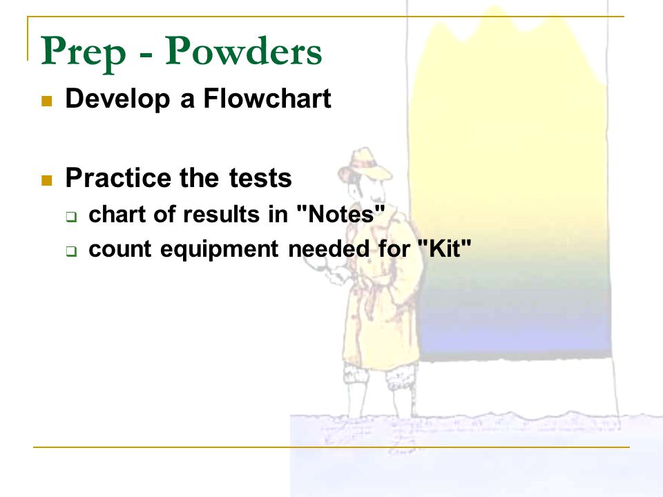 Prep - Powders Develop a Flowchart Practice the tests