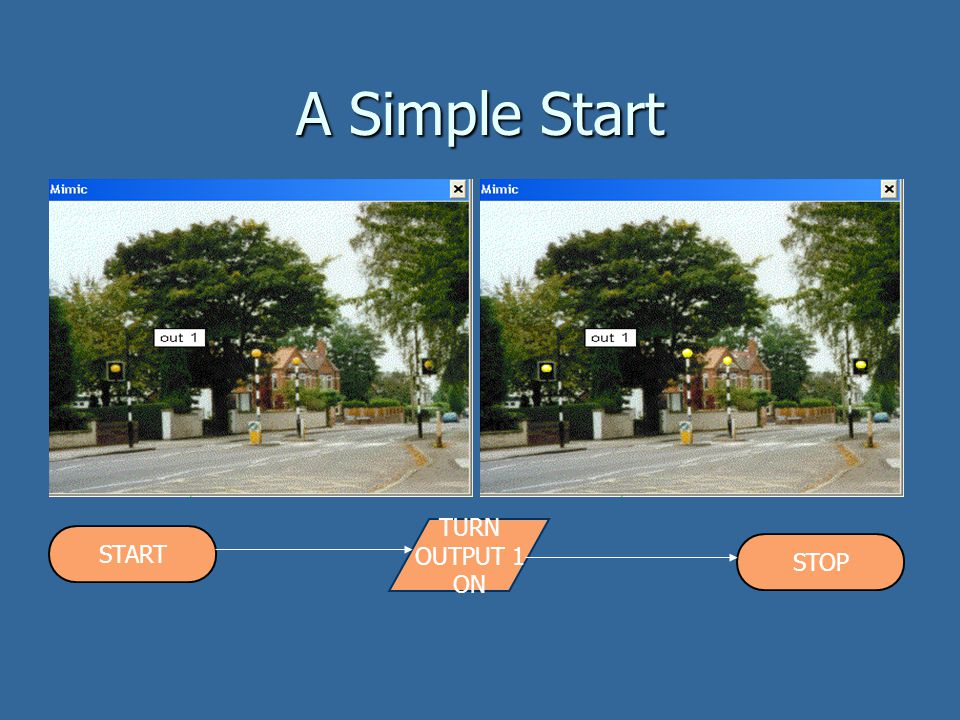A Simple Start TURN OUTPUT 1 ON START STOP