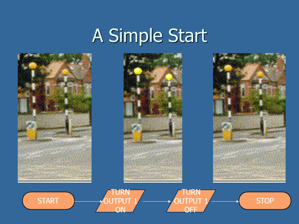 A Simple Start TURN OUTPUT 1 ON TURN OUTPUT 1 OFF START STOP