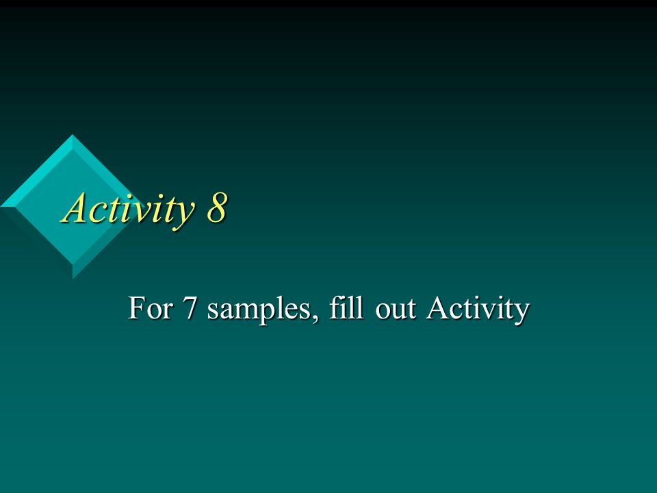 For 7 samples, fill out Activity