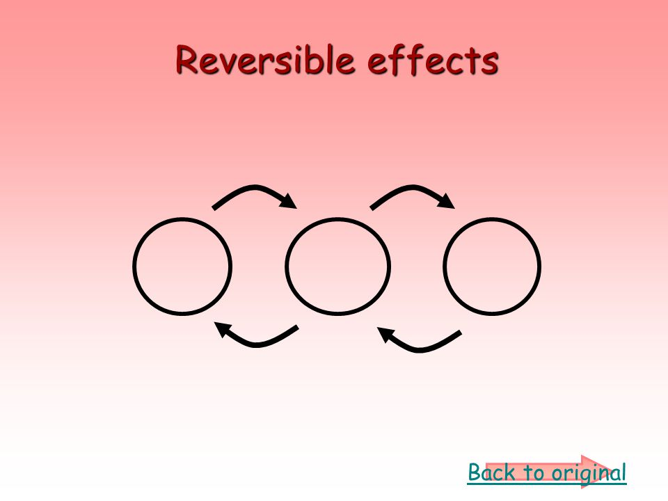 Reversible effects Back to original