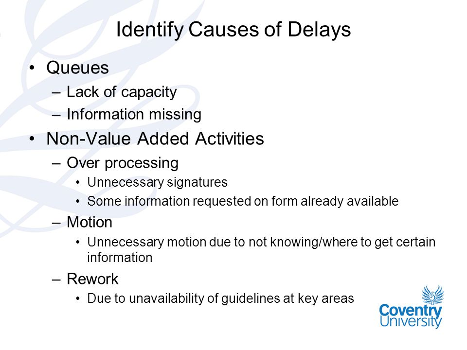 Identify Causes of Delays