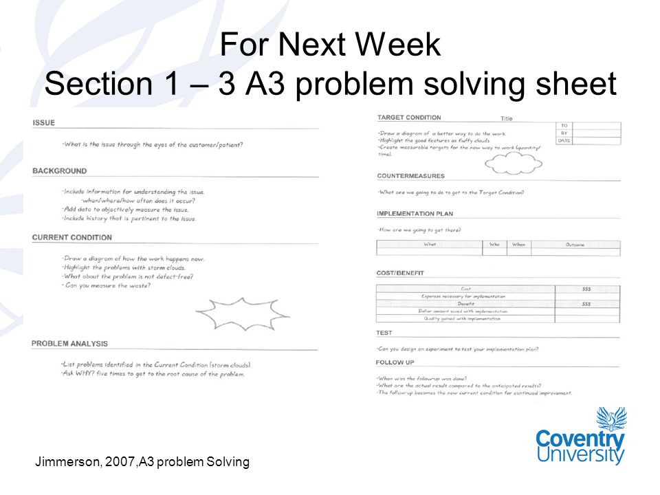 For Next Week Section 1 – 3 A3 problem solving sheet