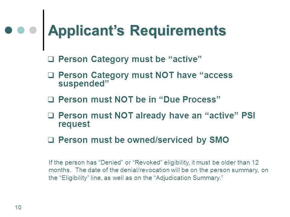Applicant's Requirements