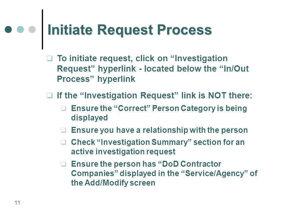 Initiate Request Process