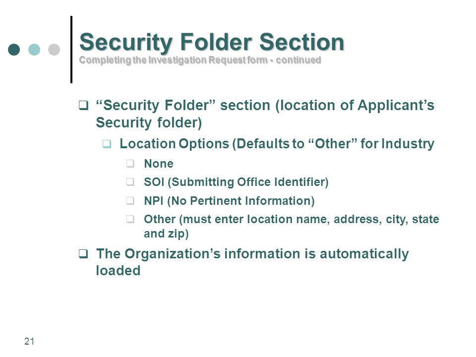 Security Folder Section