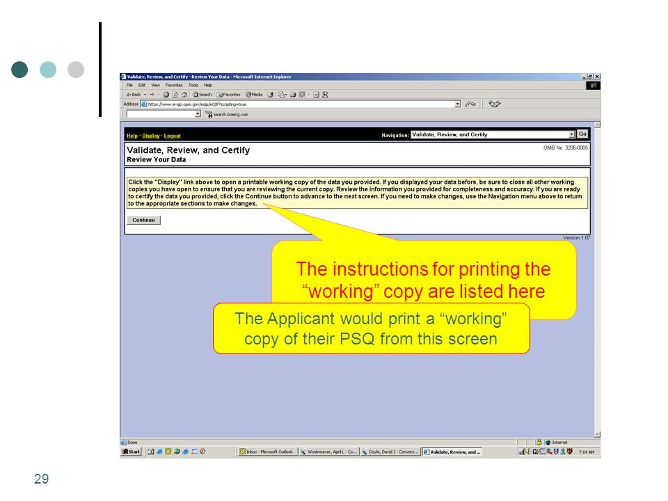 The instructions for printing the working copy are listed here