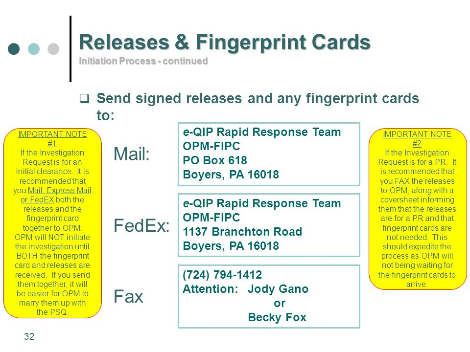 Releases & Fingerprint Cards
