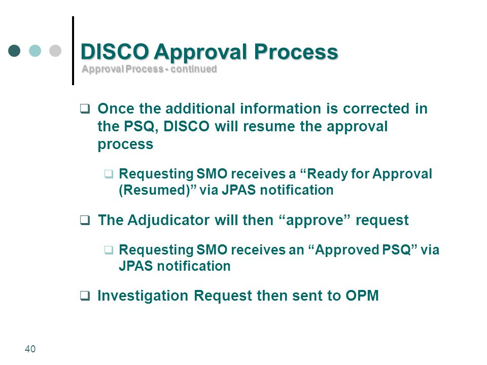 DISCO Approval Process