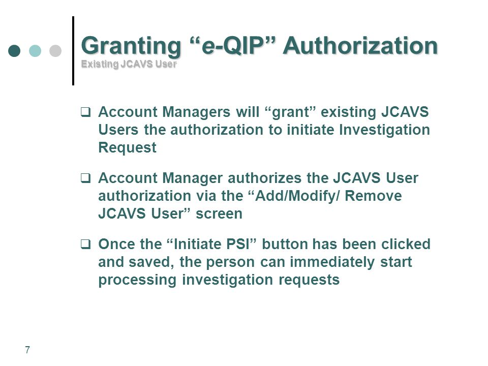 Granting e-QIP Authorization