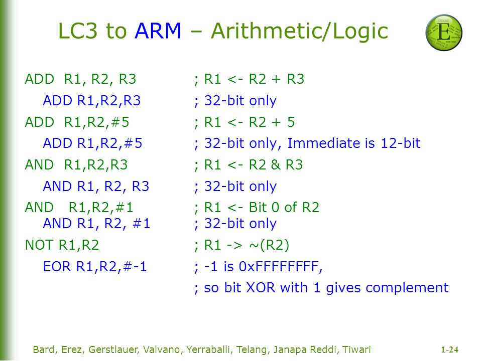 LC3 to ARM – Arithmetic/Logic