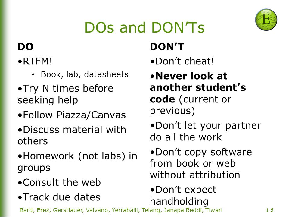 DOs and DON'Ts DO DON'T RTFM! Try N times before seeking help