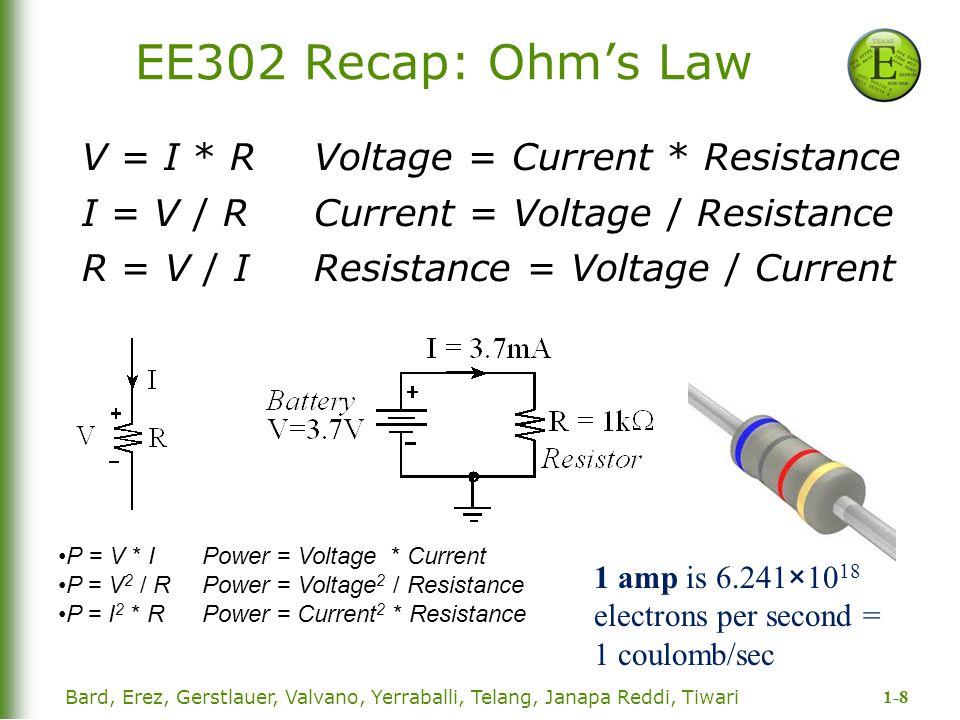 EE302 Recap: Ohm's Law V = I * R Voltage = Current * Resistance