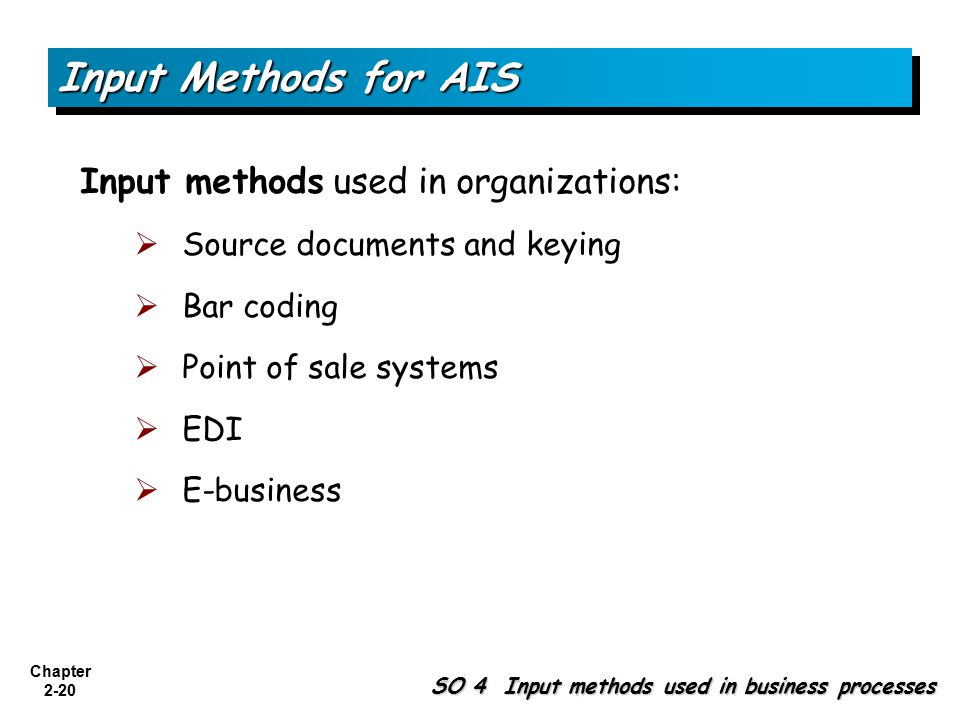Input Methods for AIS Input methods used in organizations: