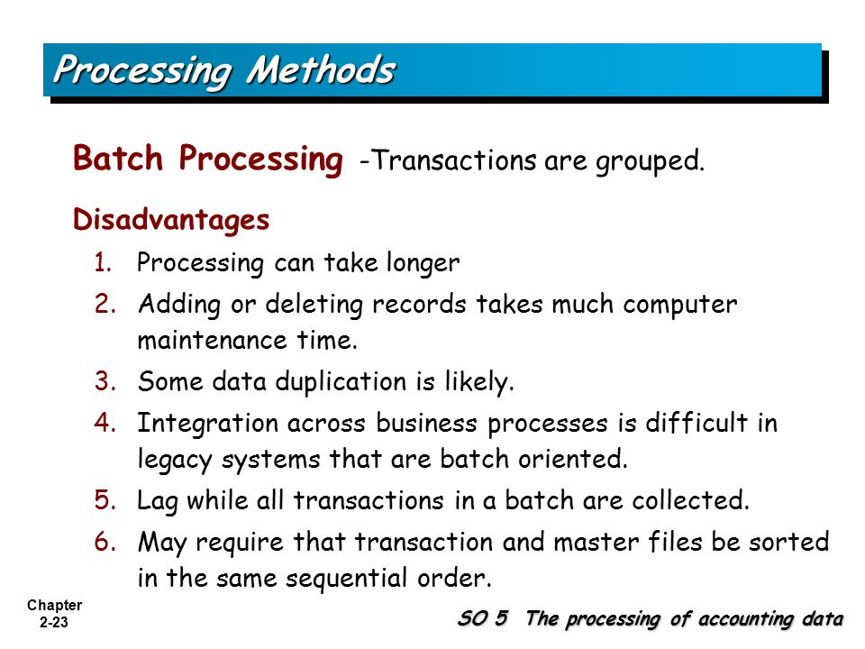 Processing Methods Batch Processing -Transactions are grouped.