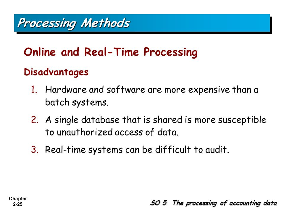 Processing Methods Online and Real-Time Processing Disadvantages