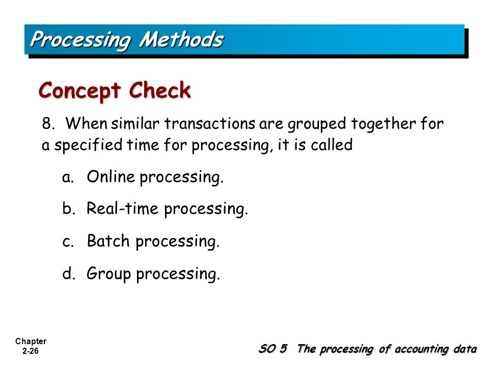 Concept Check Processing Methods a. Online processing.