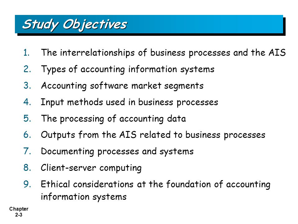 Study Objectives The interrelationships of business processes and the AIS. Types of accounting information systems.