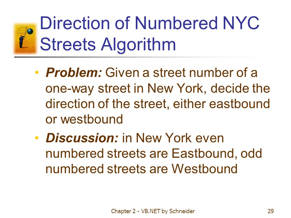 Direction of Numbered NYC Streets Algorithm