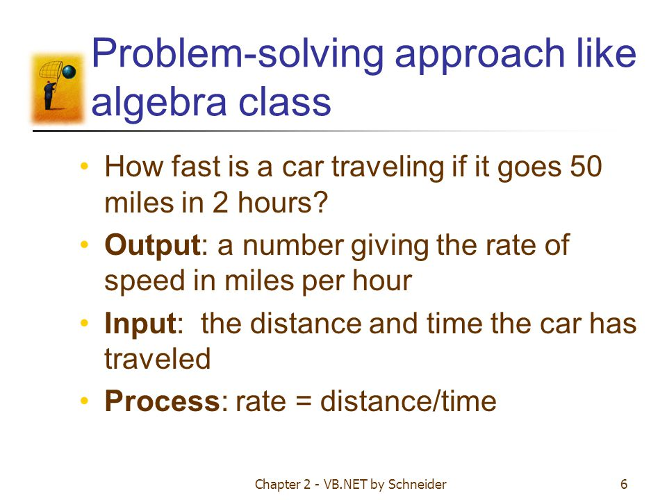 Problem-solving approach like algebra class