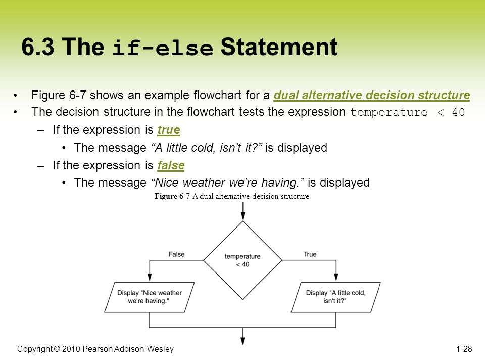 6.3 The if-else Statement Figure 6-7 shows an example flowchart for a dual alternative decision structure.