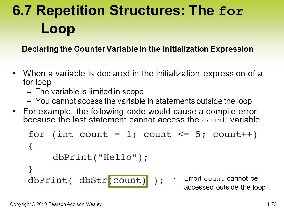 6.7 Repetition Structures: The for Loop