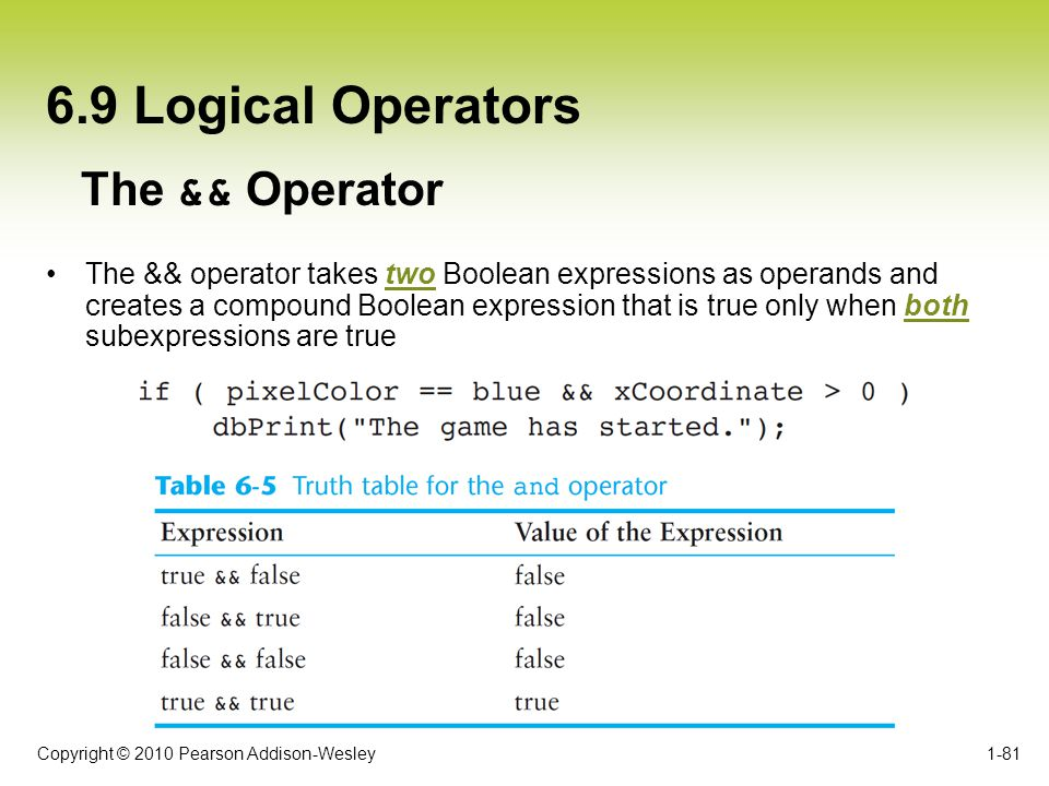 6.9 Logical Operators The && Operator