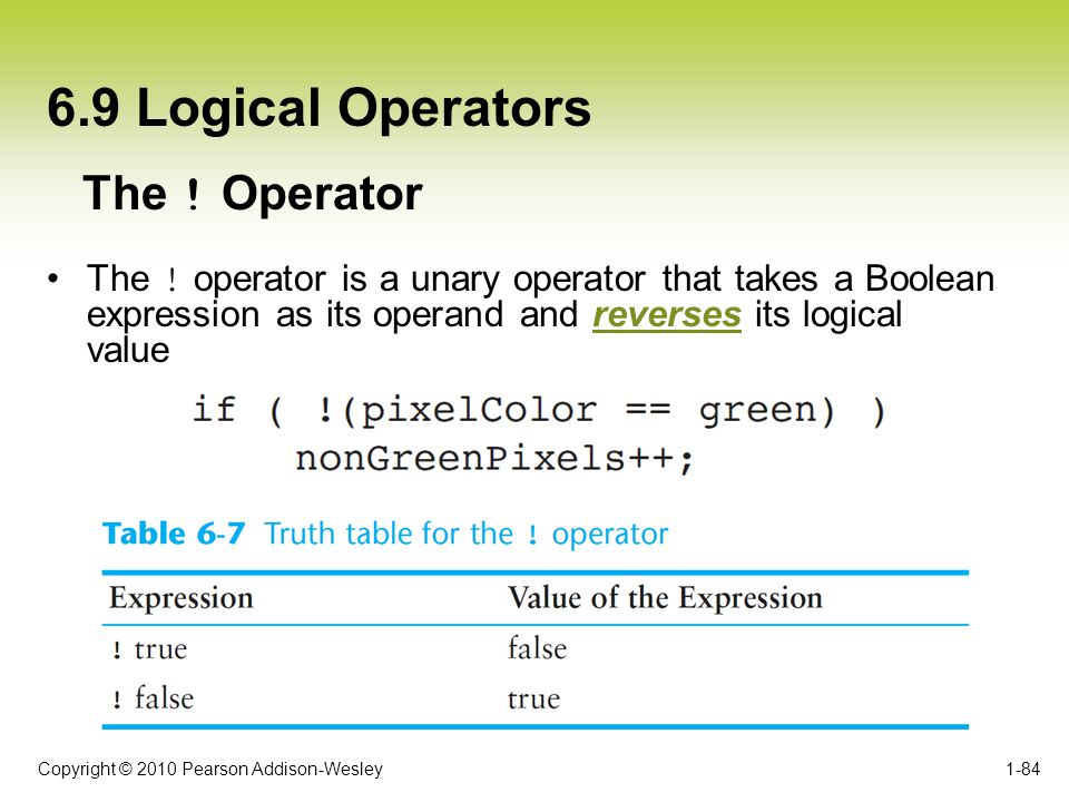 6.9 Logical Operators The ! Operator