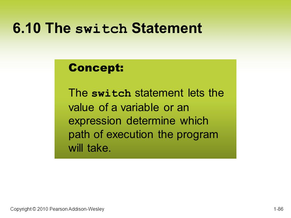 6.10 The switch Statement Concept: