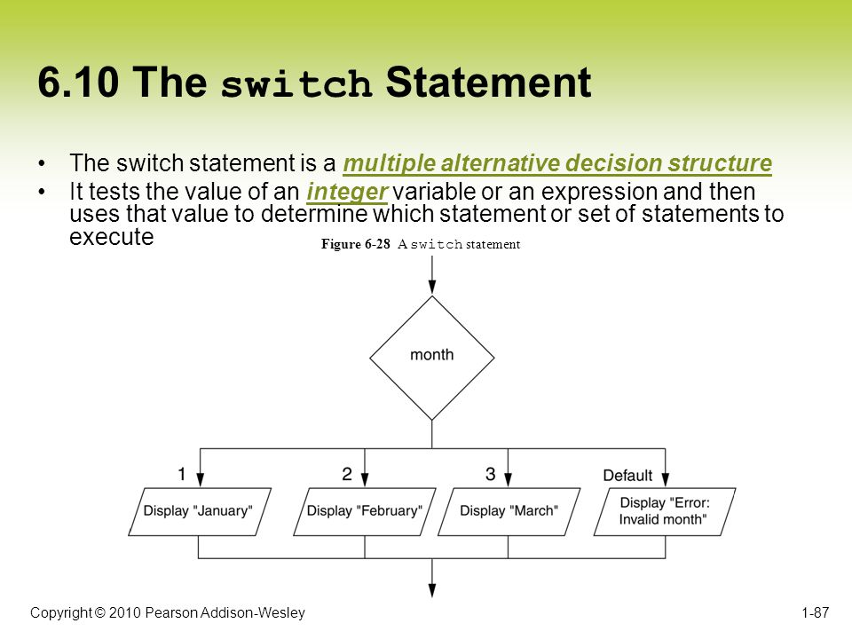 6.10 The switch Statement The switch statement is a multiple alternative decision structure.