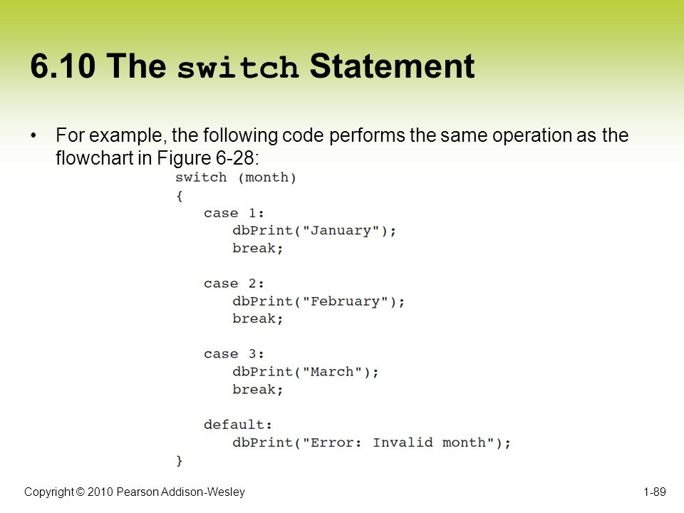 6.10 The switch Statement For example, the following code performs the same operation as the flowchart in Figure 6-28: