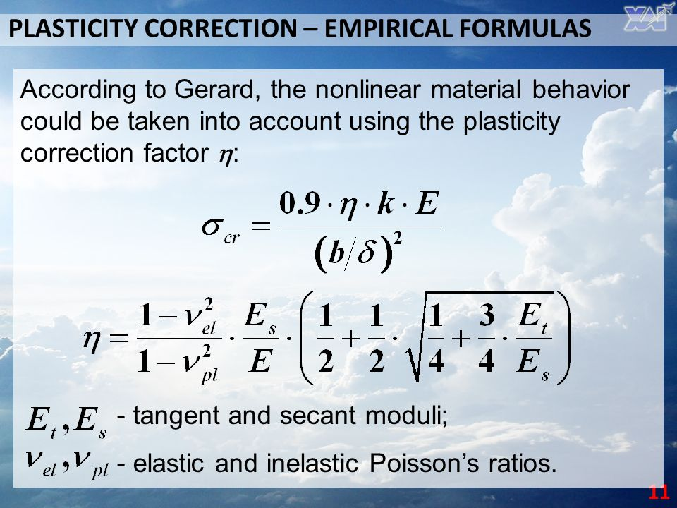 PLASTICITY CORRECTION – EMPIRICAL FORMULAS