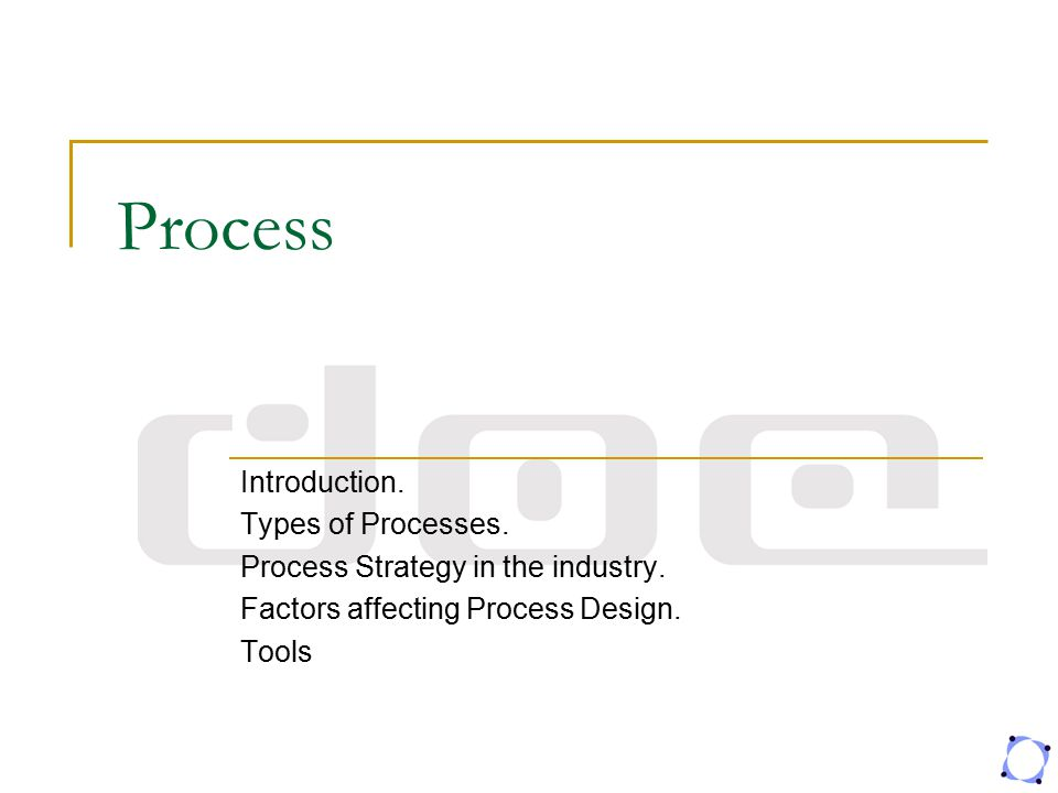 Process Introduction. Types of Processes.
