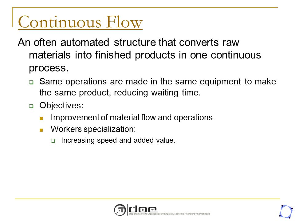 Continuous Flow An often automated structure that converts raw materials into finished products in one continuous process.