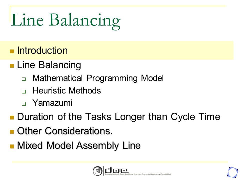 Line Balancing Introduction Line Balancing