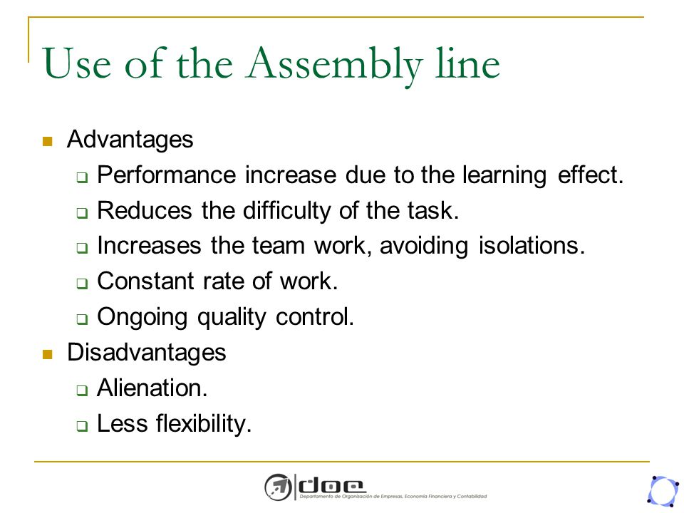 Use of the Assembly line