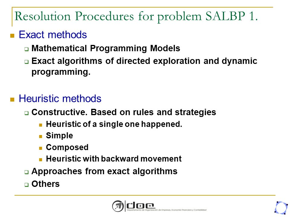 Resolution Procedures for problem SALBP 1.