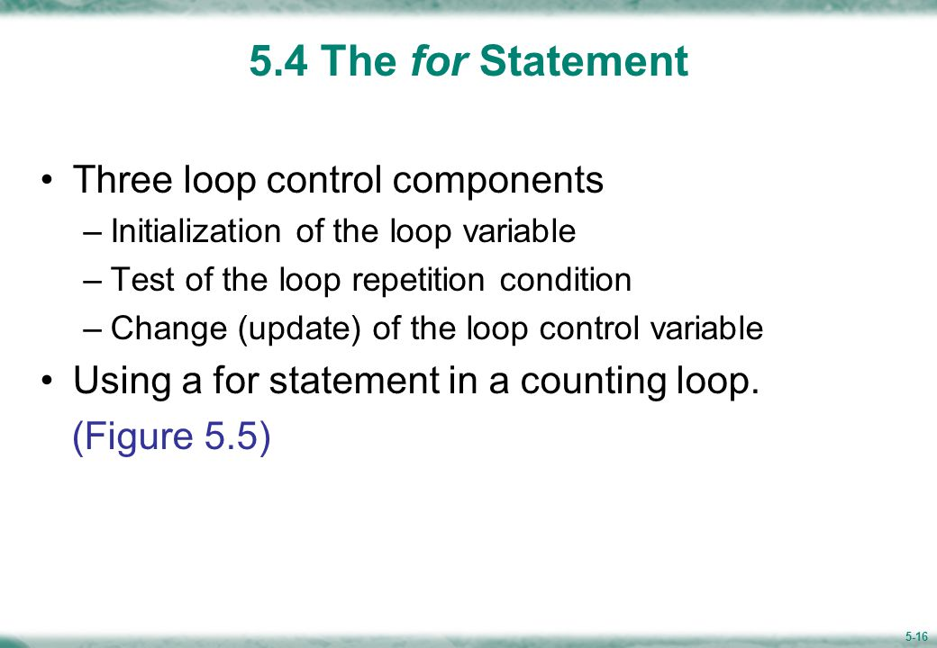 Figure 5.5 Using a for Statement in a Counting Loop