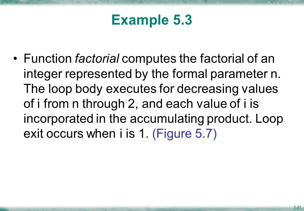 Figure 5.7 Function to Compute Factorial