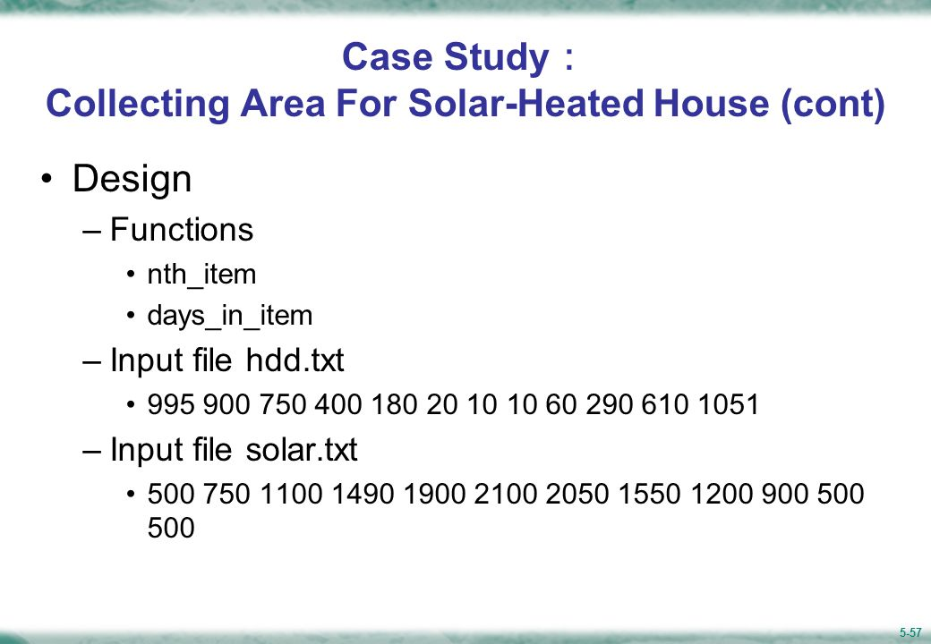 Figure 5.15 Structure Chart for Computing Solar Collecting Area Size