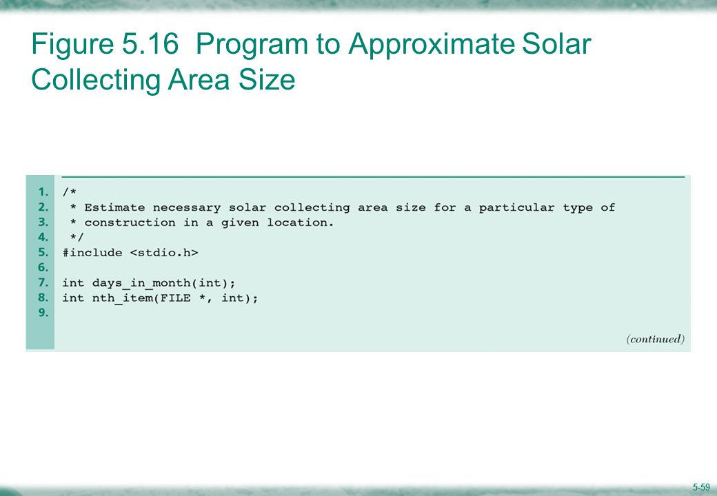 Figure 5.16 Program to Approximate Solar Collecting Area Size (cont'd)